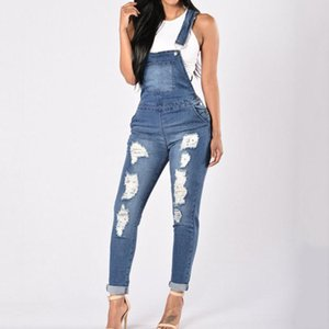 @40 New Lady Blue Denim Overalls Jumpsuit Rompers Belted Hole Hollow Out Pocket Women Casual Fashion Female Bodysuits Pants