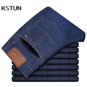 KSTUN Calça Jeans Homens Verão 2019 Azul Clássico Em Linha Reta Estirável Business Casual Ultrathin Macio Breathabel Roupas Masculinas Jeans Homme