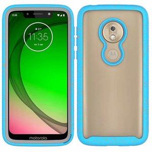 Caso rigido trasparente colorato a doppio strato ibrido colorato per Motorola Moto G7. Gioca a Moto G7 Power
