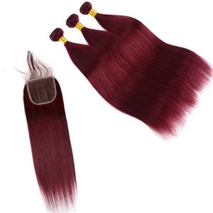 Vierge Brésilienne De Cheveux Humains Tisse Avec Fermeture En Dentelle Pure Bourgogne Droite Corps Bundles Vague Bundles Remy Extensions De Cheveux Humains