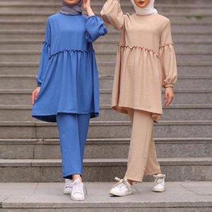 Abaya Türkei Zweiteilige Muslim Sets Hijab Kleid Kaftan Islam Kleidung für Frauen Ensemble Femme 2 Stück Pantalon Elegante Musulman