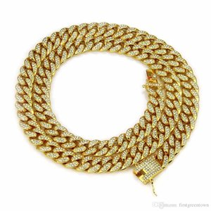 Hip Hop Full Rhinestones Iced Out Miami Cuban Chain Necklace 18inch-36inch Length Gold Paved CZ Bling Necklaces For Men Jewelry