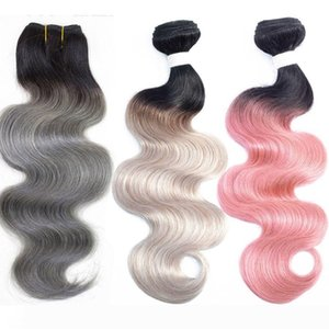 One Piece Only T 1B Dark Grey Body Wave Extensions Brazilian Remy human Hair Weave Bundles 10-18 inch