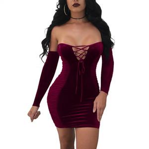 Новый сексуальный Женщины Vintage Velvet Узелок плеча Длинные рукава Мода Bodycon Короткие Мини-платье Вечерние платья партии продажа