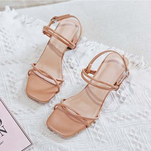 Cross Strap Sandals Women 2020 Fashion White Khaki Ladies Square Heels Party Dress Shoes Summer Women Shoes High Heel Sandals