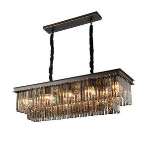 New lumières lustre en cristal gris fumée rectangle design lustres à pendeloques modernes chambre salle à manger plaque noire de lampes suspendues