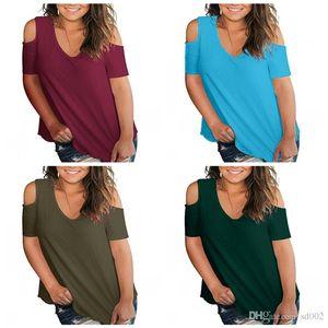 Mesdames Casual Off Shouder Tees Chemise Top 8 Couleurs Manches Courtes Col En V T-shirts Accueil Vêtements 18my E1
