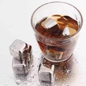 304 الفولاذ المقاوم للصدأ آيس كيوب برودة حجارة قشئة قابلة لإعادة الاستخدام للنبيذ الويسكي الحفاظ على مشروبك أطول تبريد معدني بارد