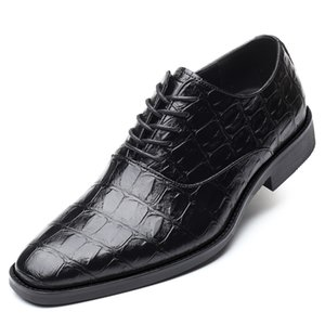 Boyut Erkek Oxford Deri Ayakkabı Timsah Yukarı Sivri Burun Elbise Düğün Ayakkabı İtalyan Erkekler Formal Ayakkabı Kırmızı