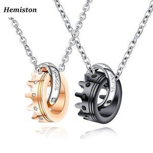 Hemiston La sua coppia regina il suo re Titanio Acciaio Collana con pendente corona zircone