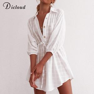 Abito DICLOUD casuale bianco Plaid Shirt estate delle donne minimalista Pareo Cover-up Beach Vestito estivo casual tunica sexy Cotton Dresses