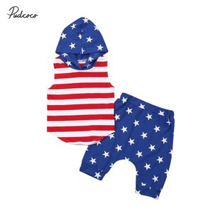 2019  July 4th Infant Baby Boy Clothes Casual Hooded Tops Shorts Striped and Stars 2PCS Outfit Toddler Clothing 0-4T