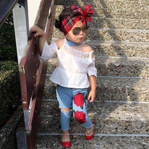 Girls fashion rose sling lace hole jeans fashion 2 pcs baby girls boutique clothing Sets kids sexy Casual Children suit girls kids clothing
