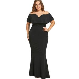 Gamiss 여성 여성 블랙 긴 드레스 플러스 사이즈 프릴 오프 저녁 파티 정장 드레스 어깨 인어 드레스 Vestidos Y19012201