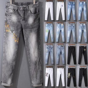 man Designer jeans High quality Mens jeans Distressed Motorcycle biker jeans Skinny Slim Ripped hole printing Famous Brand Denim pants