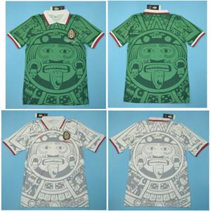 타이어 1998 멕시코 레트로 유니폼 클래식 빈티지 축구 유니폼 홈 그린 헤르 난 데스 BLANCO 98 축구 셔츠 camisa 드 Futebol 팀