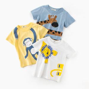 Мальчики с короткими рукавами футболка детская половина рукава животных милый мультфильм 2019 летняя новая детская одежда оптом одно поколение