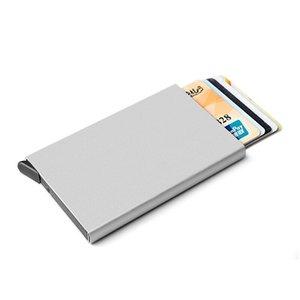 Novo titular do cartão de crédito New Metal ID Anti Rfid Wallet Suporte para cartão de visita Carteira
