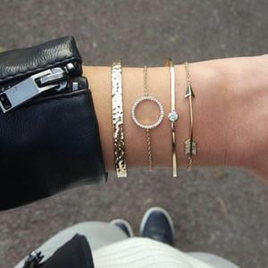 8 Estilos de Boho Vintage Charms pulseras de la personalidad de las mujeres del oro determinado de Crystal Círculo pluma de la manera pulsera ajustable M263F joyería abierto del manguito