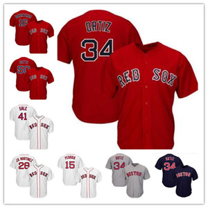 보스턴 레드 41 크리스 세일 야구 유니폼 50 Mookie Betts 34 David Ortiz 28 JD Martinez 19 Bradley Jr. 15 Pedroia 16 Benintendi Jersey