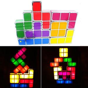 Bloc de construction Puzzle lampe Nouveauté Bricolage Jouets Empilable Bloc LED Lampe de bureau Lumière Rétro Jeu Tour Blocs Nuit Lumière Enfants BH0813 TQQ