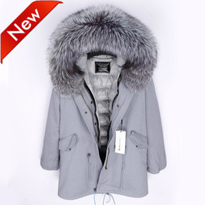 New arrival women's Long down parkas hooded with Large real fur collar bling bling sliver jacket