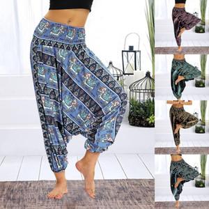 Frauen lösen Yoga Pants 2020 Boho Druck beiläufige Wide Leg Hose Jogginghose Frauen-Sommer-Plus Size Baggy Harem Pants