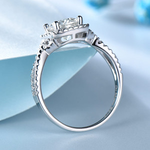 UMCHO luxo de noiva Cubic Zircon anéis para mulheres reais prata 925 Jóias Wedding Party Engagement Solitaire Marca Fine Jewelry
