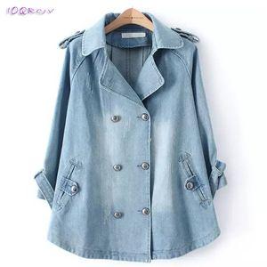 2019 primavera plus size mulheres casaco grande soltos denim fêmea trench coat blusão Casual elegantes casacos longos encabeça IOQRCJV T295