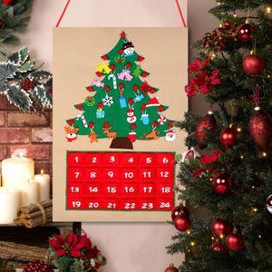 Bricolage Tissu de Noël en feutre calendrier de l'Avent avec l'arbre de poche Ornement Tenture Décoration de Noël pour la maison Nouvel An