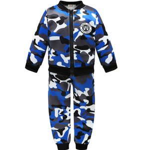 2020 best selling children's clothing autumn boys' Plush thickening set quick selling popular children's long sleeve camouflage two-piece se