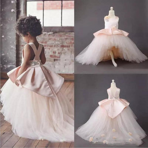 Flower Girls Dresses Pink Jewel Handmade Flowers Satin And Tulle Girls Pageant Dress Lovely Kids Formal Wear Birthday Gowns