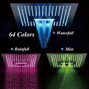 Banho Set torneira do chuveiro de chuva cachoeira névoa Showers Retângulo LED integrado teto válvula termostática Showerhead
