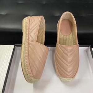 Pelle Donna 2020 del progettista della tela Espadrillas Genuine Lambskin Signora pattini casuali piani morbide pantofole paglia Tessitura Loafer Espadrillas