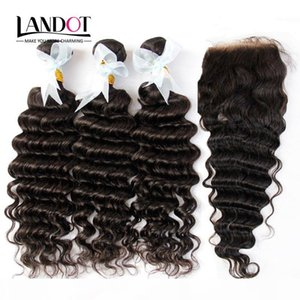 Indian Deep Wave Virgin Human Hair Weaves With Closure Unprocessed Deep Curly Wavy Hair 3 Bundles And Lace Closure Free Middle Part 4X4Size