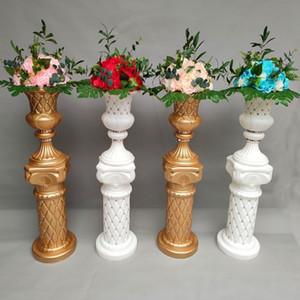 Luxury Diamond-studded Gold Roman Column Wedding Aisle Runner Road Cited Pillar for Event Opening Celebration Props
