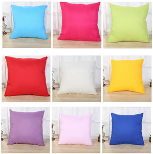 New 45 * 45CM Home Sofa Throw Pillowcase pure Color Polyester White Pillow coucher Cover Fillow Case Blank christmas Decor Gift IB272