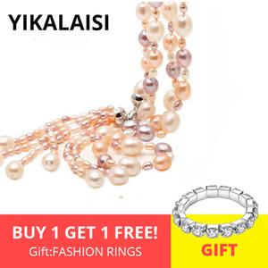 gioielli a lungo Collana a più strati della nappa di modo d'acqua dolce naturale perla YIKALAISI 925 gioielli in argento Sterling per le donne