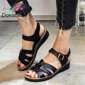 DORATASIA Concise Low Chunky Heels Shoes Summer Elegant Flat Sandals Women New Fashion Sandals