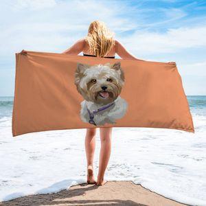 New bath towel cartoon dog head series beach towel creative printing sports yoga sunscreen shawl quick-drying towel YJX0024