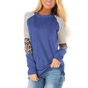 Plus Size 5X Frühling-runde Kragen-beiläufige lose Tees T-Shirt Art und Weise Frauen-Leopard-Druck-lange Hülse Patchwork Farbe Kontrast Tops
