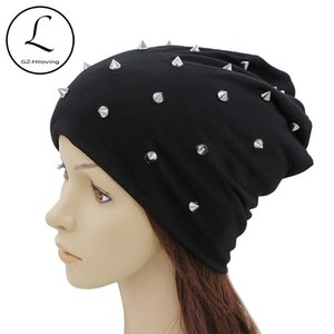 GZHILOVINGL 2017 New Slouchy Women Autumn Hat Caps For Girl Rivet Beanie Skullies Colors Casual Hip-Hop Hats Adult Winter Bonnet