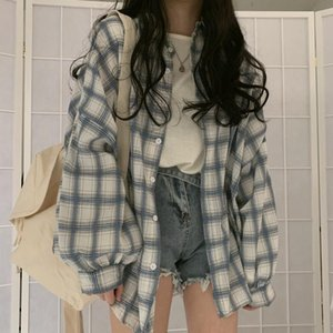 Blue Plaid Print Blouse Women Casual Long Sleeve Top Shirts Blouse Loose Summer New Streetwear Hip Hop Thin Korean Shirts Button
