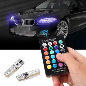 2pcs / pair T10 5050 Fernbedienung Auto Led Lampe 6 smd Multicolor W5W 501 Side Glühlampen