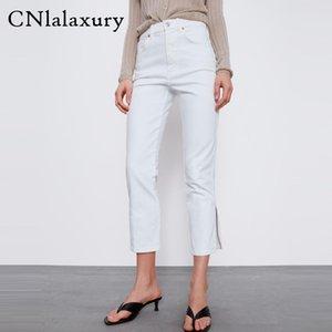 CNlalaxury weißen Baumwollstoffhosen Seite geteilt hohe Taille Denimhose Damenmode Jeans mujer Street pantalones vaqueros mujer