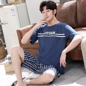 Mengyunian cotton Home clothes and shorts men's short-sleeved shorts pajamas suit round collar cotton thin men's home clothes