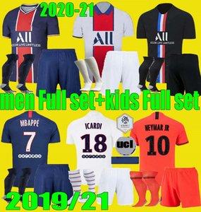 Hommes enfants 20 21 PSG kits MBAPPE maillot de football de 3e 4HT 2020 2021 Paris Maillot ICARDI garçons adultes chemise d'uniforme de football Ensemble complet