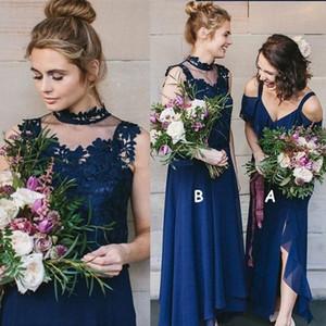 Elegante Alto Bajo Oscuro Azul marino Vestidos de dama de honor Dos tipos Chiffon Beach Garden Country Wedding Guest Dress Plus Size 2019