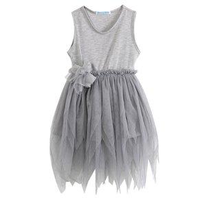 sem mangas rendas sem mangas cinza Hot Girls Dress Crianças Vintage Tulle Skirt Sequins do partido da flor Vestido de Verão Crianças de aniversário vestido de festa