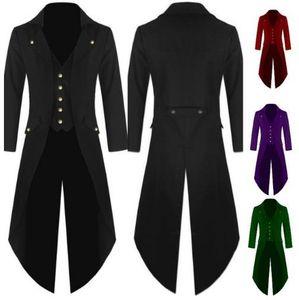 New men suit windbreaker men's long-sleeved solid color button irregular men's tuxedo fashion slim banquet dress gentleman clothing